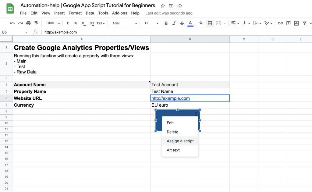 screenshot of final google sheet