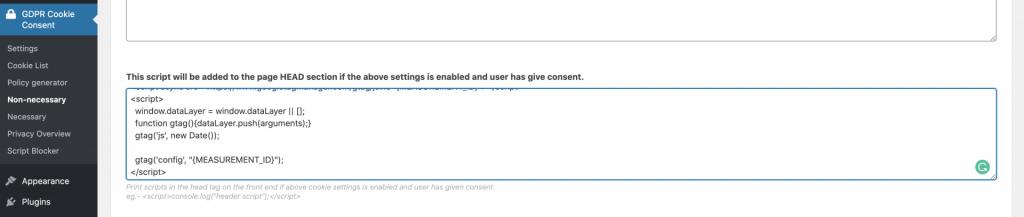 Screenshot of GDPR Cookie Consent Plugin