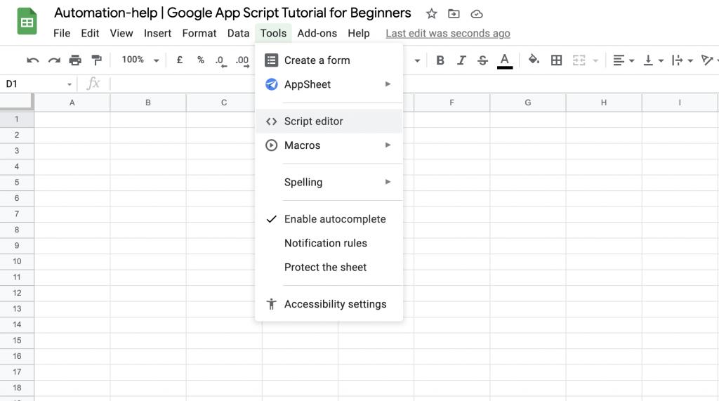 screenshot of the google app script tutorial for beginners google sheet