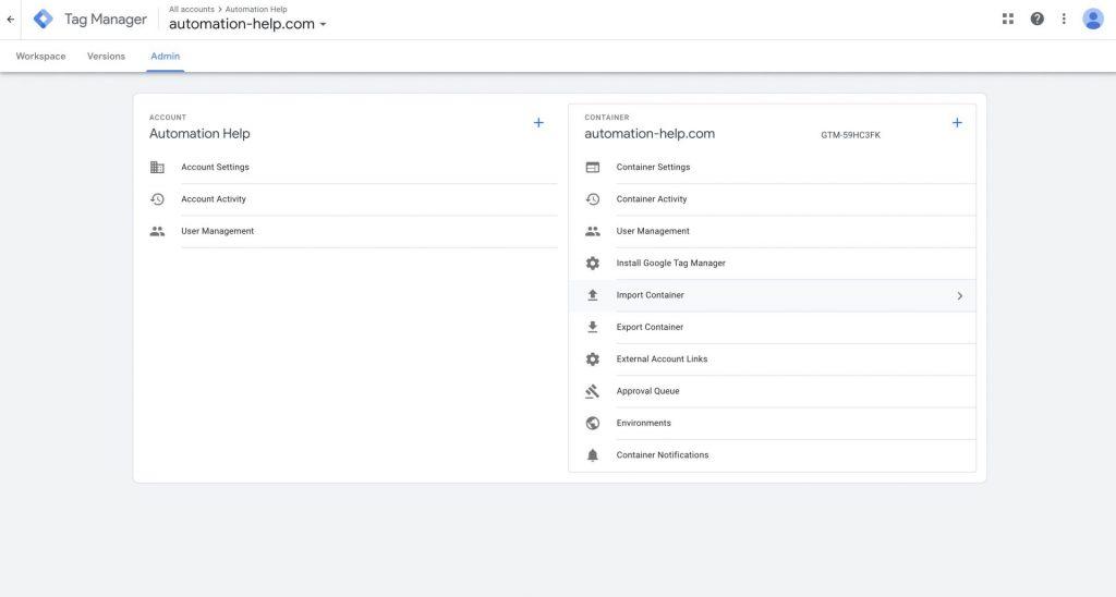 Screenshot of Google Tag Manager settings