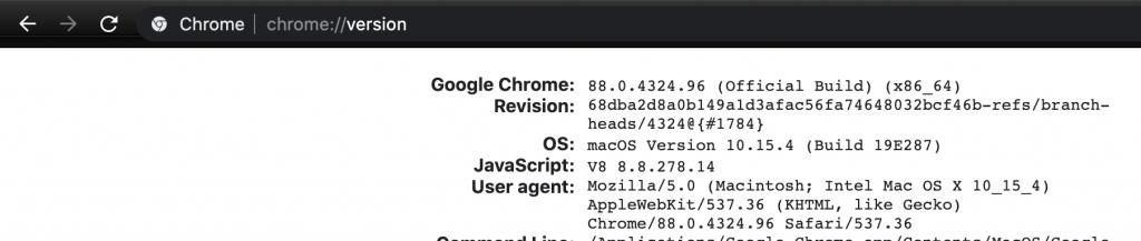 chrome://version shows you your chrome version