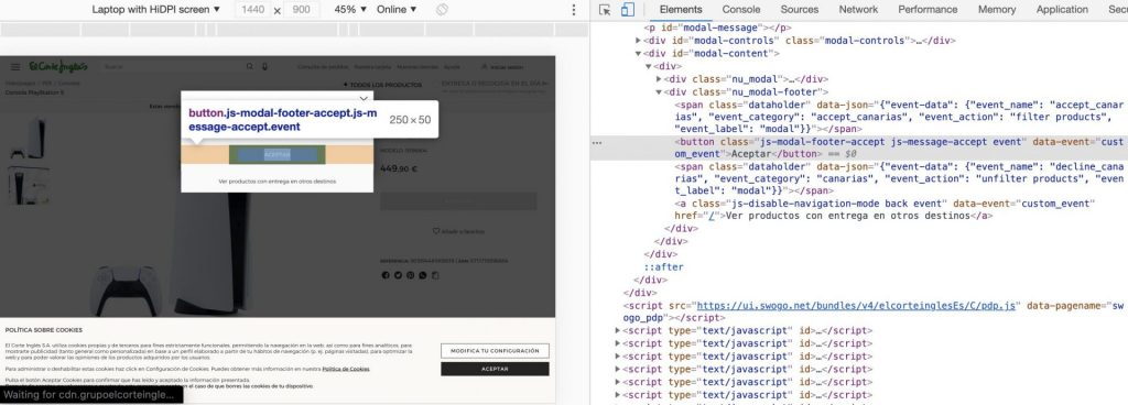 screenshot of how to get HTML element