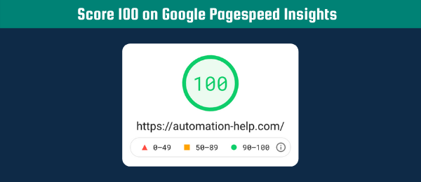 score 100 on Google Pagespeed Insights Tool