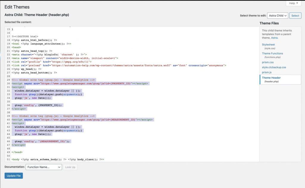 Screenshot of WordPress theme header to add Google Analytics code snippets