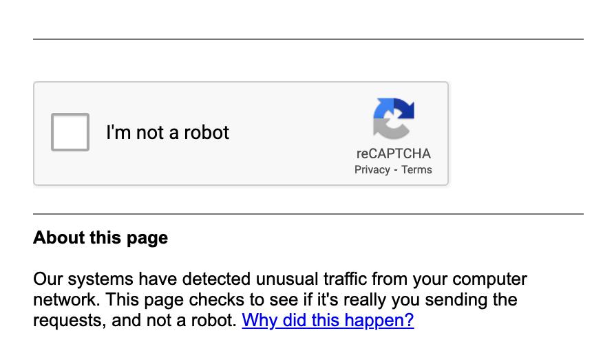 screenshot of google recaptcha