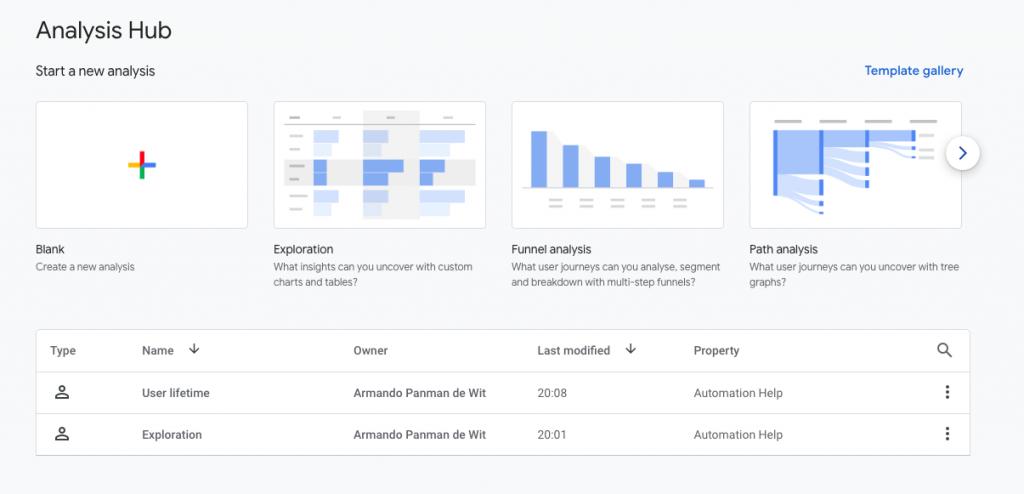 Google Analytics 4 Analysis Hub Screenshot