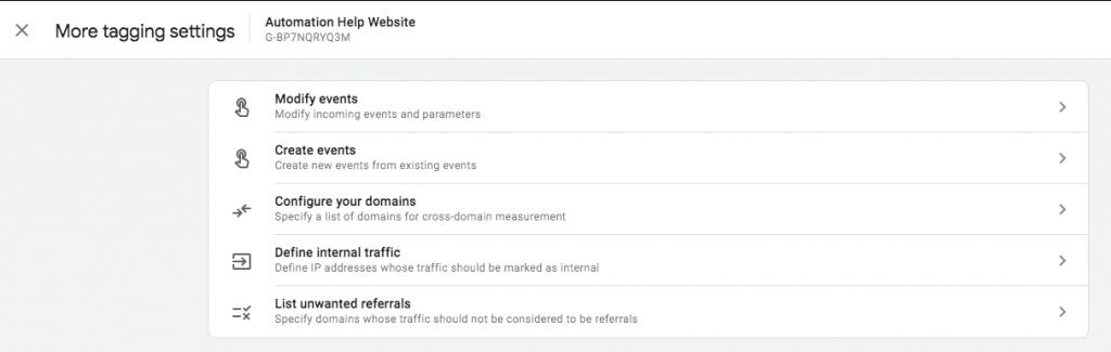 Google Analytics 4 modify events andd create events screenshot