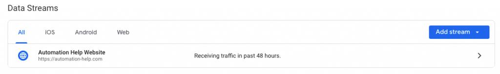 Google Analytics 4 data streams screenshot