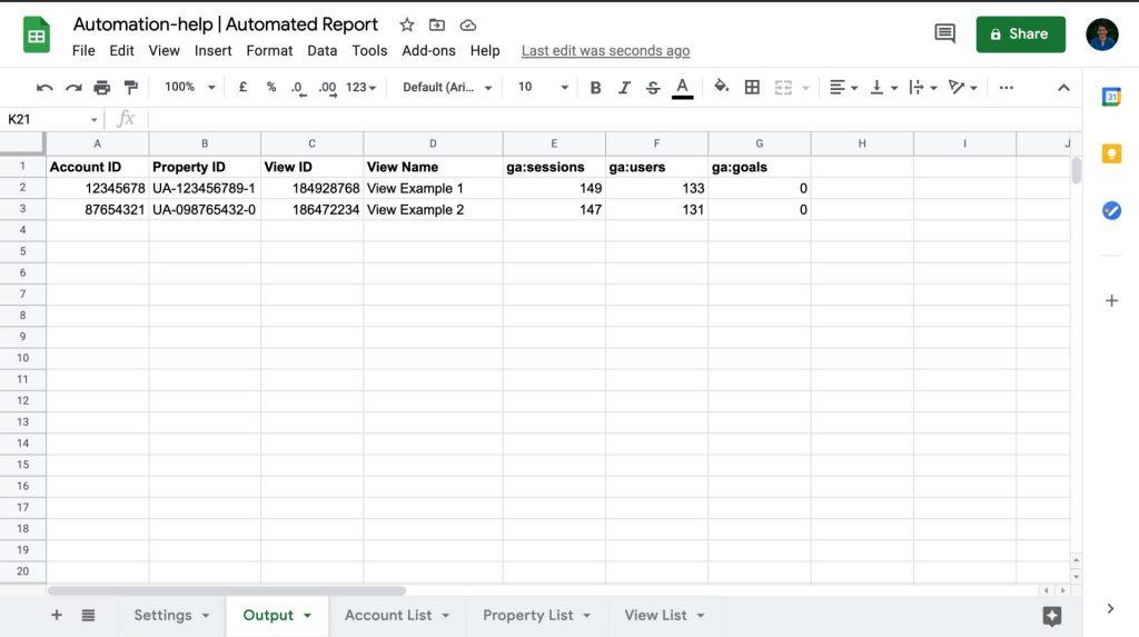screenshot output google sheet