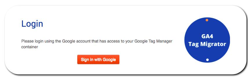 ga4 tag migrator - login screenshot