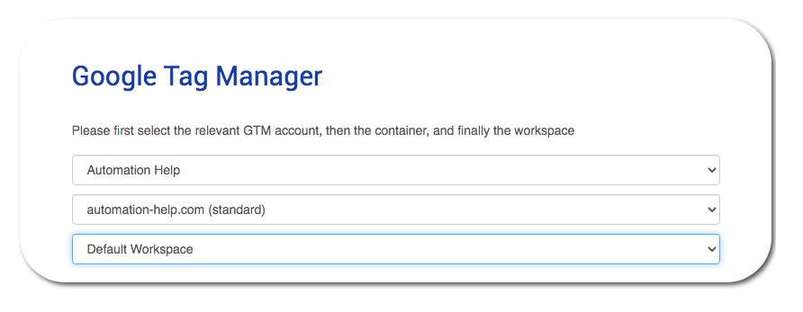 ga4 tag migrator - select google tag manager container screenshot