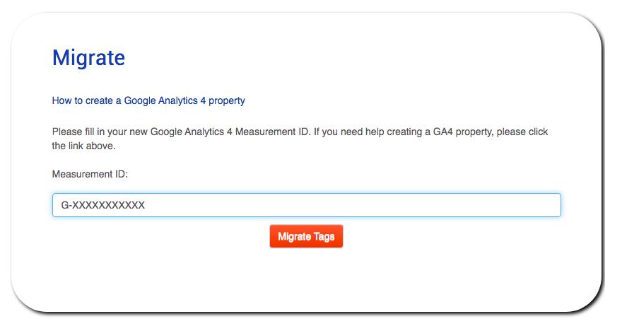 ga4 tag migrator - measurement ID screenshot