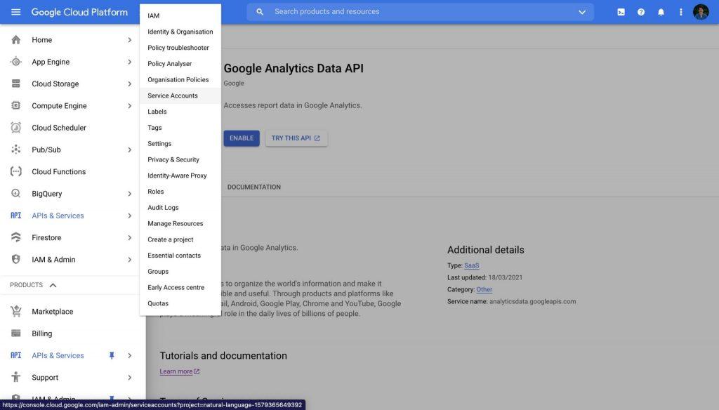google cloud platform service account