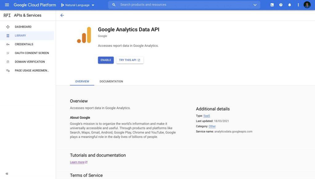 Enable Google Analytics Data API