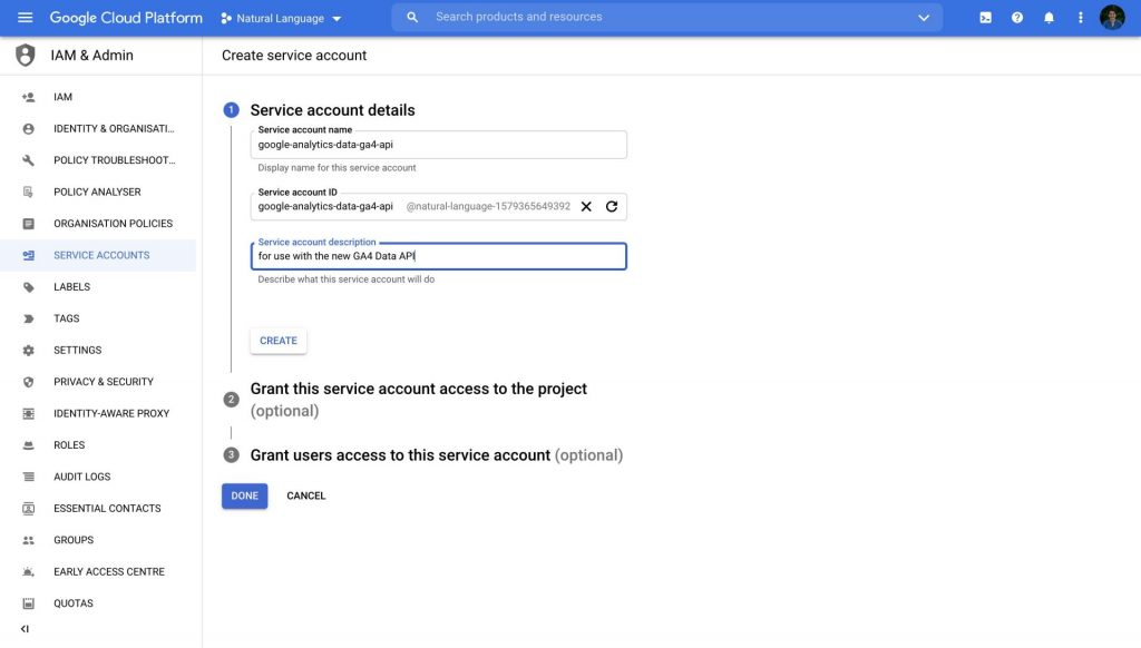 google cloud platform create service account