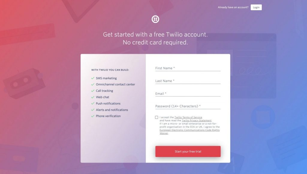 step 1 of sending automated text messages using python - registration page of twilio