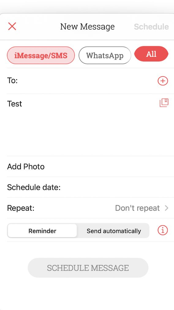 scheduled app screenshot