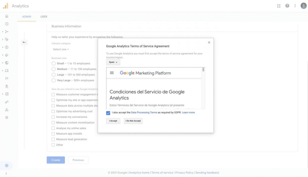 create google analytics 4 property accept terms and conditions