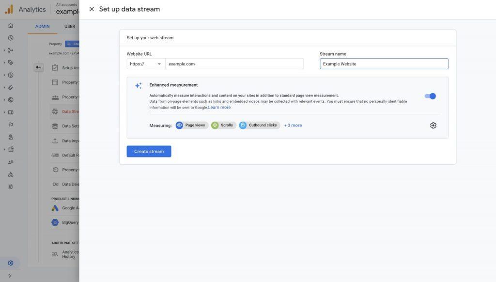 create google analytics 4 data stream
